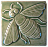 "Honey Bee 4""x4"" Ceramic Handmade Tile - Spearmint Glaze"