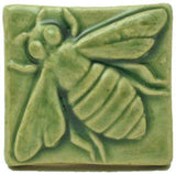 "Honey Bee 2""x2"" Ceramic Handmade Tile - Spearmint Glaze"