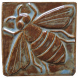 "Honey Bee 4""x4"" Ceramic Handmade Tile - Autumn Glaze"
