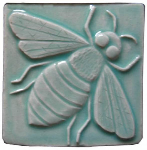 "Honey Bee 4""x4"" Ceramic Handmade Tile - Pacific Blue Glaze"