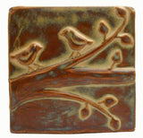 "Birds On A Branch 1 6""x6"" Ceramic Handmade Tile - Autumn Glaze"