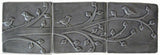"Birds On A Branch Triptych Three 6""x6"" Ceramic Handmade Tiles - Gray Glaze"