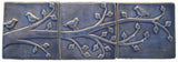 "Birds On A Branch Triptych Three 6""x6"" Ceramic Handmade Tiles - Watercolor Blue Glaze"