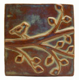 "Birds On A Branch 2 6""x6"" Ceramic Handmade Tile - Autumn Glaze"