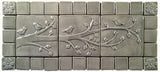 "Birds On A Branch Triptych Three 6""x6"" Ceramic Handmade Tiles With 2"" Border - Gray Glaze"