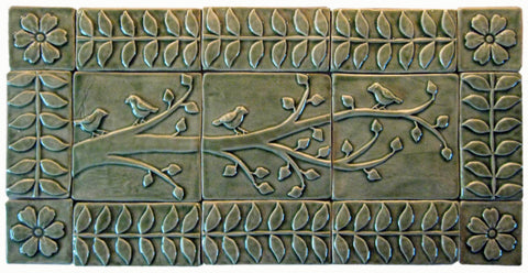 "Birds On A Branch Triptych Three 6""x6"" Ceramic Handmade Tiles With 3"" Border - Spearmint Glaze"