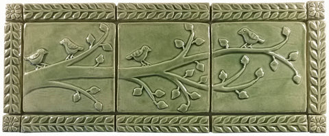 "Birds On A Branch Triptych Three 6""x6"" Ceramic Handmade Tiles With 1"" Border - Spearmint Glaze"