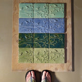 "Birds On A Branch Triptych Three 6""x6"" Ceramic Handmade Tiles - size reference"