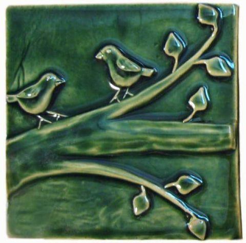 "Birds On A Branch 1 6""x6"" Ceramic Handmade Tile - Leaf Green Glaze"