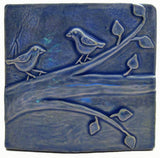 "Birds On A Branch 1 6""x6"" Ceramic Handmade Tile - Watercolor Blue Glaze"