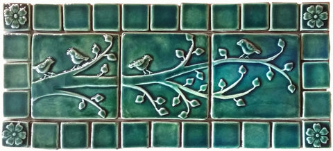 "Birds On A Branch Triptych Three 6""x6"" Ceramic Handmade Tiles With 2"" Border - Leaf Green Glaze"