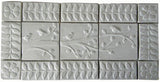 "irds On A Branch Triptych Three 6""x6"" Ceramic Handmade Tiles With 3"" Border - White Glaze"