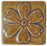 "Blossom 4""x4"" Ceramic Handmade Tile - Honey Glaze"