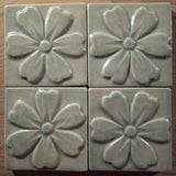 "Blossom 4""x4"" Ceramic Handmade Tile - Pacific Blue Grouping"