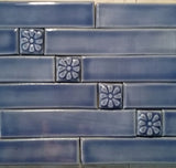 "1""x6"" Border Handmade Ceramic Field Tile - grouping shown with 1x1 flowers"