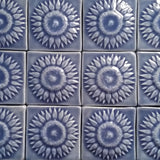 "Sunflower 3""x3"" Ceramic Handmade Tile - Watercolor Blue Glaze Grouping"