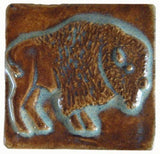 "Buffalo facing right 2""x2"" Ceramic Handmade Tile - Autumn Glaze"
