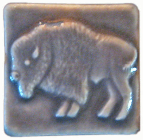 "Buffalo 2""x2"" Ceramic Handmade Tile - Gray Glaze"