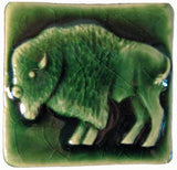"Buffalo 2""x2"" Ceramic Handmade Tile - Leaf Green Glaze"