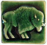 "Buffalo facing right 2""x2"" Ceramic Handmade Tile - Leaf Green Glaze"