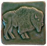 "Buffalo facing right 2""x2"" Ceramic Handmade Tile - Spearmint Glaze"