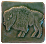 "Buffalo 2""x2"" Ceramic Handmade Tile - Spearmint Glaze"