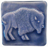 "Buffalo facing right 2""x2"" Ceramic Handmade Tile - Watercolor Blue Glaze"