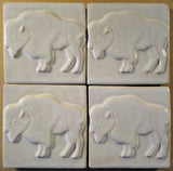 "Buffalo 4""x4"" Ceramic Handmade Tile - White Glaze Grouping"