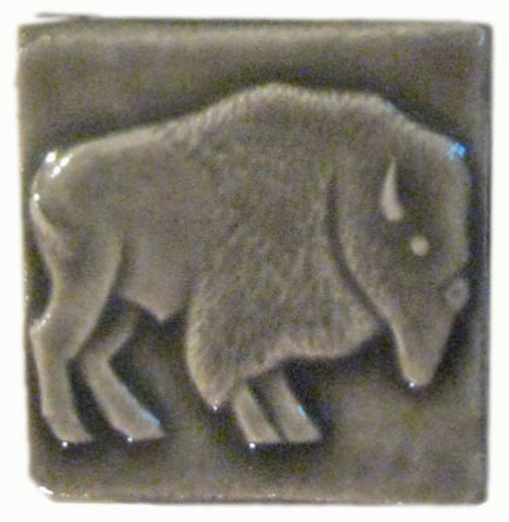 "Buffalo facing right 2""x2"" Ceramic Handmade Tile - Gray Glaze"