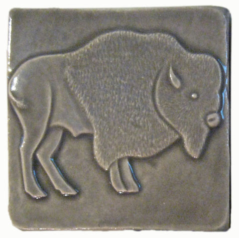 "Buffalo facing right 4""x4"" Ceramic Handmade Tile - Gray Glaze"