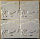 "Buffalo facing right 4""x4"" Ceramic Handmade Tile - White Glaze Group"
