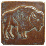 "Buffalo facing right 4""x4"" Ceramic Handmade Tile - Autumn Glaze"