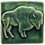 "Buffalo facing right 4""x4"" Ceramic Handmade Tile - Leaf Green Glaze"