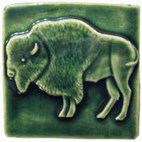 "Buffalo 4""x4"" Ceramic Handmade Tile - Leaf Green Glaze"
