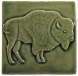 "Buffalo facing right 4""x4"" Ceramic Handmade Tile - Spearmint Glaze"