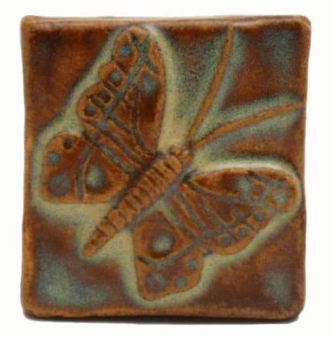 "Butterfly 2""x2"" Ceramic Handmade Tile - Autumn Glaze"