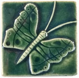 "Butterfly 3""x3"" Ceramic Handmade Tile - Leaf Green Glaze"