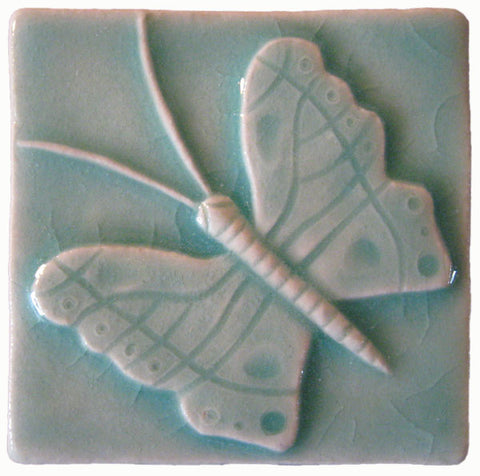 "Butterfly 3""x3"" Ceramic Handmade Tile - Pacific Blue Glaze"
