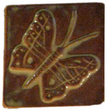 "Butterfly 4""x4"" Ceramic Handmade Tile - Autumn Glaze"