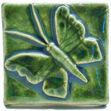 "Butterfly 2""x2"" Ceramic Handmade Tile - Leaf Green Glaze"