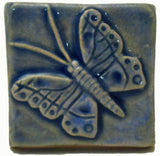 "Butterfly 2""x2"" Ceramic Handmade Tile - Watercolor Blue Glaze"