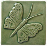 "Butterfly 4""x4"" Ceramic Handmade Tile - Spearmint Glaze"