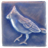 "Cardinal 2""x2"" Ceramic Handmade Tile - Watercolor Blue Glaze"