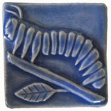 "Caterpillar 3""x3"" Ceramic Handmade Tile - Watercolor Blue Glaze"