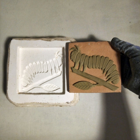 "Caterpillar 4""x4"" Ceramic Handmade Tile - in progress"