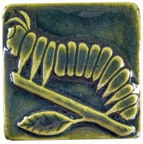 "Caterpillar 4""x4"" Ceramic Handmade Tile - Leaf Green"