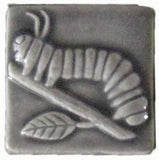 "Caterpillar 2""x2"" Ceramic Handmade Tile - Gray Glaze"
