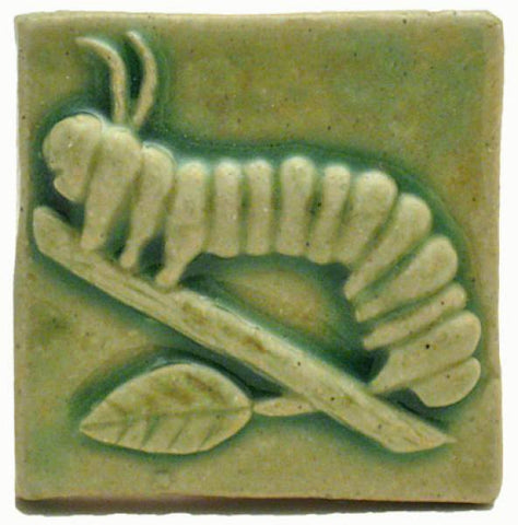 "Caterpillar 2""x2"" Ceramic Handmade Tile - Spearmint Glaze"