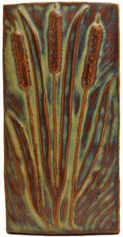 "Cattails 4""x8"" Ceramic Handmade Tile - Autumn glaze"