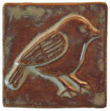Chickadee 3x3 Handmade Ceramic Tile - Autumn Glaze